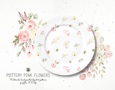 Pottery Pink Flowers - watercolor clipart