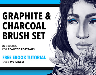 25 Graphite & Charcoal Procreate Brushes for Portraits