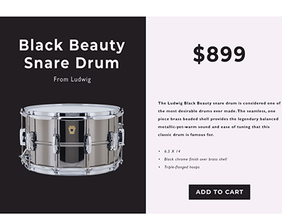 Black Beauty Snare Drum Ad