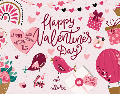 Valentine's day cute illustration collection
