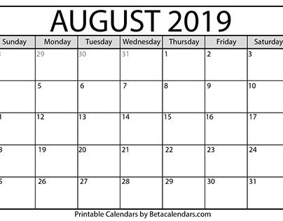 Printable August 2019 Calendar