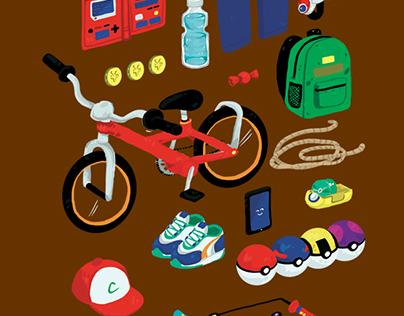 """Trainer Must-Haves"" Pokemon T-Shirt Design"
