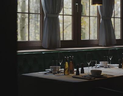 Interior of an old Swiss restaurant. CGI