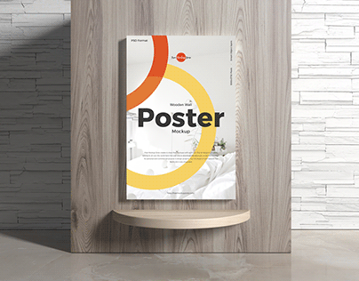 Free Poster on Wooden Wall Mockup