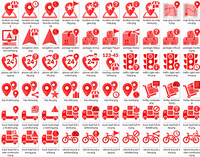 Transportation and Logistics icons in transparent