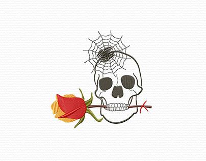 Halloween Skull and Rose