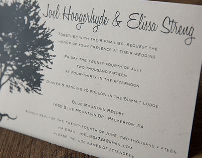 Screen Printed  Wedding Invitations