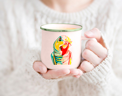 Mug with illustration curious parrot