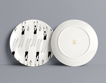 Black&white illustrations on the plates