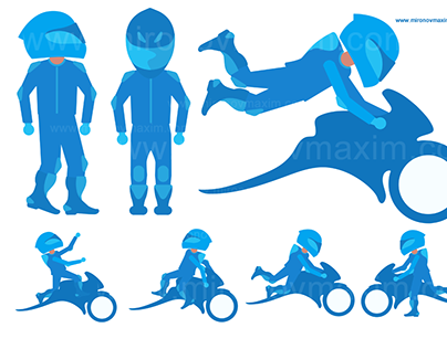 Stuntrider and moto icons for photostock
