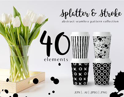 Paint Splatter & Stroke, 40 Patterns