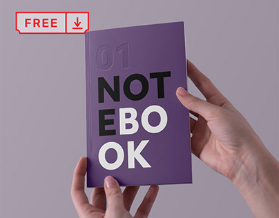 Free Hands Holding Notebook Mockup