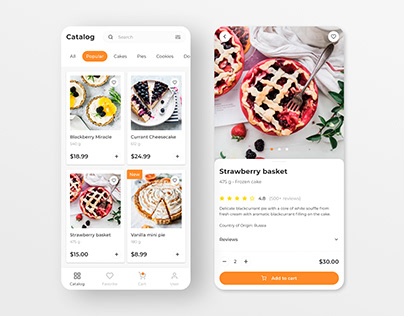 Delivery of sweets. Mobile app