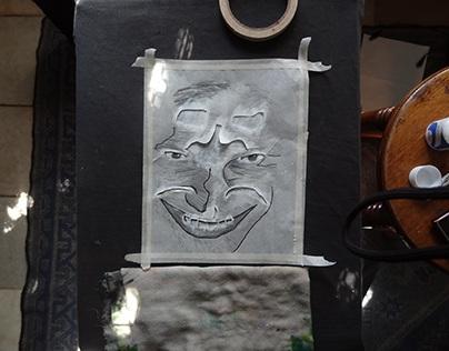 estampado con stencil a mano / hand stamped