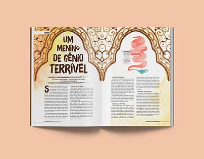 Rediagramação de página dupla de revista