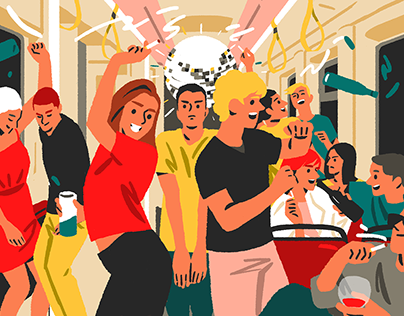 cleanliness in public transportation - illustrations