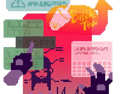 Cyberpunk pixel stickers