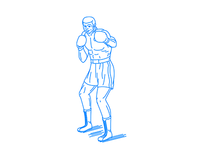 Fighting pose heavyweight boxer