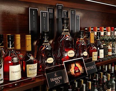 SHELF DISPLAY Hennessy X.O ODYSSEY VRAY