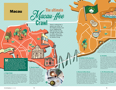 """Macau-ffee Crawl"" - illustration for Time Out HK"