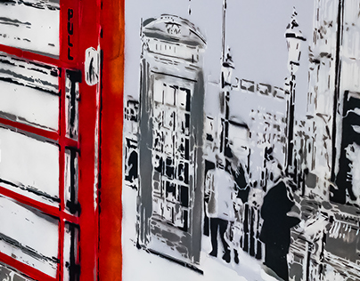 Indoor Street Art - 'London street' mural