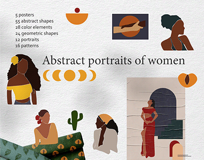 Abstract woman portraits clipart-modern forms