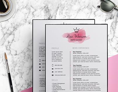 Watercolor Elegant Resume Template - CV / Letterhead