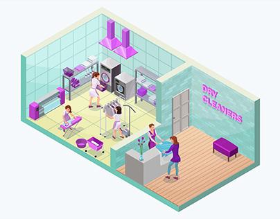 Laundry service isometric 3D vector illustration