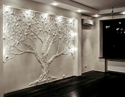 """Apple tree"" 3D art in interior, drywall decoration"