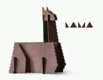 Zero waste. Lama puzzle toy made from one plywood sheet
