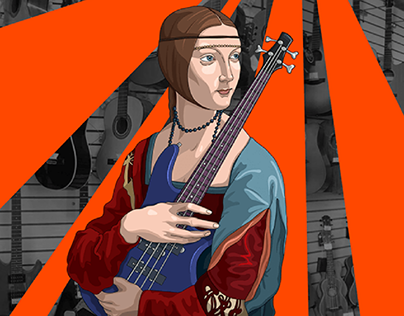 Music store advertising illustration and design