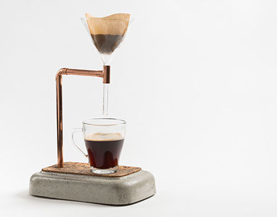 concrete coffee maker - product photography