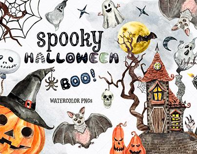 Watercolor Halloween Spooky Creepy clipart