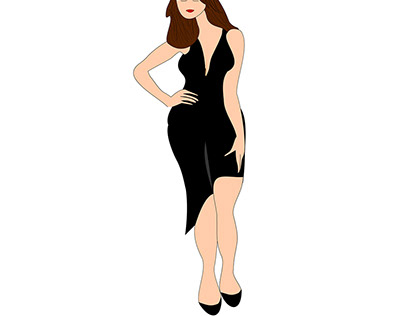 Fashionable girl in black dress.