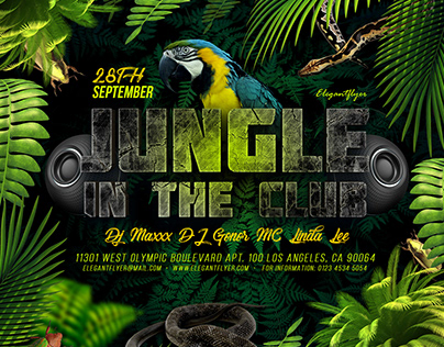 Jungle in the Club – PSD Flyer Template