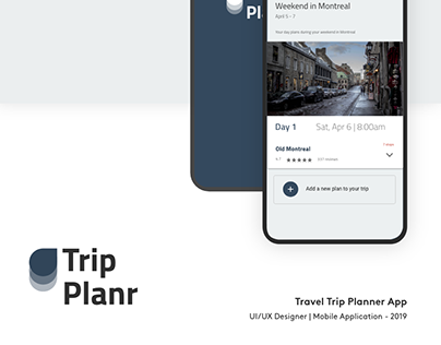 Trip Planr - UI/UX Design | Mobile Application