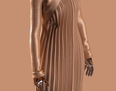 golden plisse dress