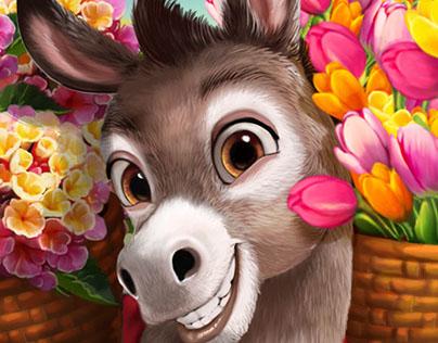 Happy-Donkey-with-Flower-Baske