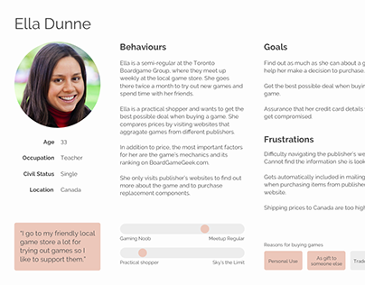 User Persona for Boardgame Website