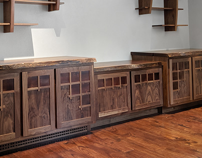 Built in Cabinets with Copper Inset Doors