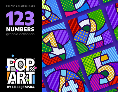 123 NUMBERS + CURRENCY Pop Art graphic collection