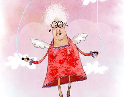 Grandma skipping rope in Heaven