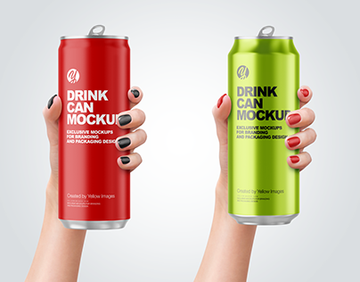 Aluminium Drink Cans in a Hand Mockups PSD 4k