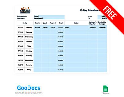 10-Day Attendance Sheet-free Google Docs Template