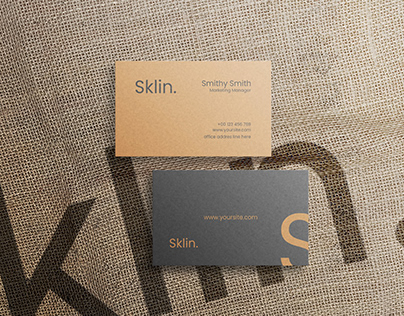 Business Card mockup with jute texture background