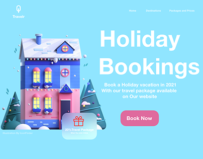 Holiday bookings web concept