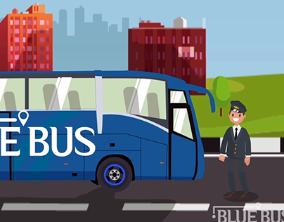 Blue Bus Animation Video