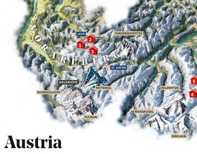 Alpine Cooking - illustrated Maps of alpine countries