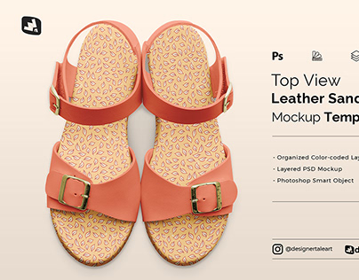 Top View Leather Sandal Mockup