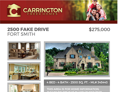 Carrington Creek Homes, Home Flyer Design